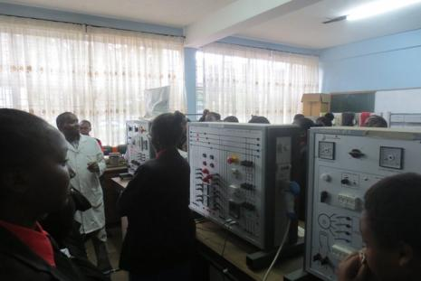 Starehe girls students in Electrical Machines lab.